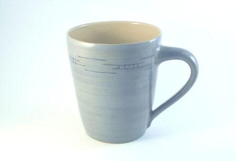 großer Kaffeepott Steinzeug hellblau
