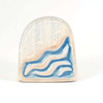 Kartenhalter Fußspuren weiß Keramik