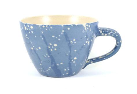 große Milchkaffetasse Steinzeug blau