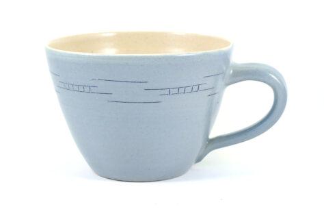 große Milchkaffeetasse Steinzeug hellblau